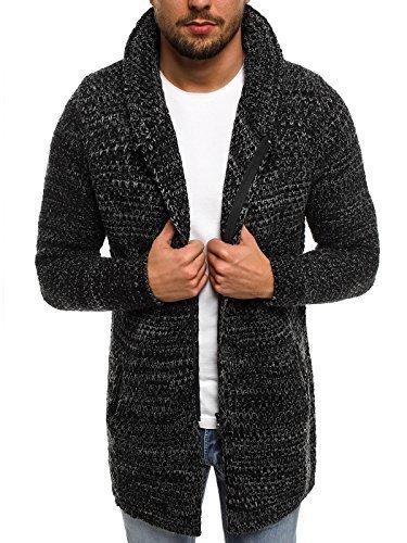 OZONEE Herren Strickjacke Pullover Pullover Hoodie Stricken Sweatshirt MADMEXT 2148 M SCHWARZ