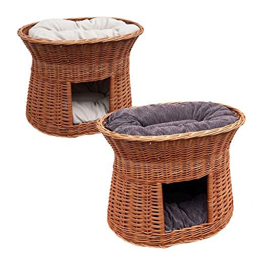 GalaDis 2-81-5 Ovale Katzenhöhle aus Weide zwei Kissen. Ein Katzenkorb für Ihre Katze zum Ruhen und Spielen/Katenturm / Katzenbett -