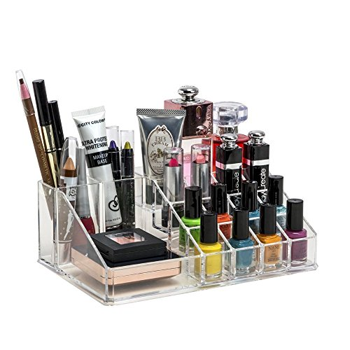 PETRICE Cosmetic Organizer 16 Compartment Cosmetic Makeup Jewellery Acrylic Lipstick Storage Organiser Box