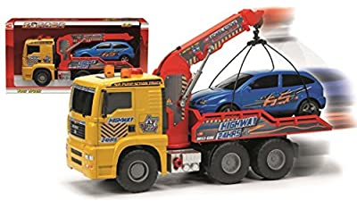 Dickie-Spielzeug 203415778 Pump Action Tow Truck - Camión grúa con brazo elevador y coche, 55 cm, color amarillo y rojo por Dickie-Spielzeug