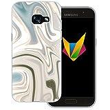 Mobilefox Liquid transparente Silikon TPU Schutzhülle 0,7mm dünne Handy Soft Case für Samsung Galaxy A3 (2017) Liquid Braun Gold - Verlauf Hülle Cover