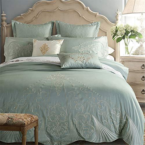 RENYAYA Cotton Royal Luxury Bedding Set King Queen Size Stickerei Set Duvet Cover Bedsheet Set 4/6/8Pcs,4pieceset,220 * 240cm (König Cotton Bed Sheet Sets)