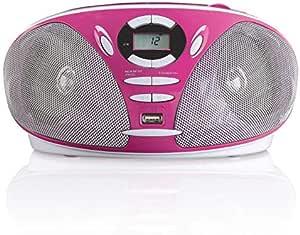 Lenco Scd 300 Tragbares Stereo Fm Radio Cd Und Mp3 Player Boombox Mit Usb Wiedergabe Rose Audio Hifi
