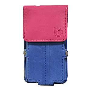 J Cover A6 Nillofer Series Leather Pouch Holster Case For ZenCinemax 2 Dark Blue Pink