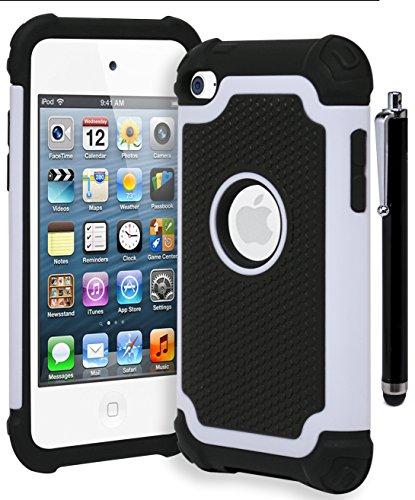 Bastex Hybrid Armor stoßfest Schutzhülle für Apple iPod Touch 4, 4. Generation • Creme Weiß & Schwarz (inkl. Stift)