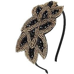 Discoball - Tocado de plumas de flor elegante, para boda, boda, mujer, día de carreras, Royal Ascot Black+Gold
