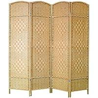 Biombo color Natural de Bambú y papel trenzado, montado sobre bastidores de madera - 4 Paneles