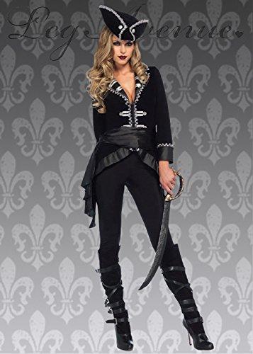 Womens Deluxe schwarz Schönheit Piratenkostüm M (UK 10-12)
