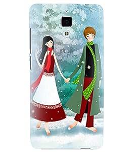 Printvisa Romantic Couple In Snowfall Back Case Cover for Xiaomi Redmi Mi4::Xiaomi Mi 4