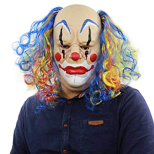 AIYA Geschweifte Glatze Clown Halloween Prom Performance Requisiten Horror Ghost Latex Maske (Furchterregende Clown Kostüm)