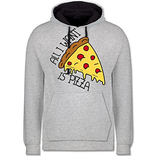 Statement Shirts - All I want is pizza - Kontrast Hoodie Grau meliert/Dunkelblau
