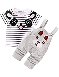 Conjuntos de ropa, Dragon868 Cute niño correas pequeño oso rayado de manga corta conjunto para bebé