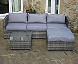 Grey Rattan 4 Seat Corner Sofa Set Garden Patio Furniture