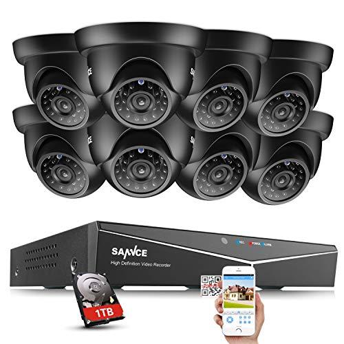 SANNCE Kit de 8 Cámaras de vigilancia Sistema de seguridad (Onvif H.264 CCTV DVR P2P 8CH TVI 720P 8 Camaras 1.0MP IP66 Impermeable IR-Cut Visión Nocturna Exterior/Interior)-1TB HDD