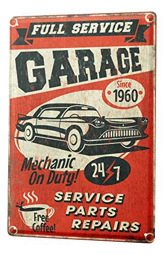 Blechschild Nostalgie Auto Retro Mechaniker -