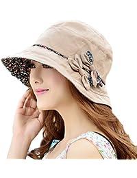 Mujeres Moda Verano Sombrero de Playa Copa Fieltro Flores Anti-UV Gorro del Sol Plegable