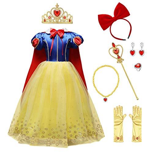 IMEKIS Mädchen Schneewittchen Kostüm Prinzessin Cosplay Verkleiden Geburtstag Festlich Partykleid Pailletten Schneeflocke Weihnachten Karneval Kleid mit Umhang Hochzeit Festzug Outfit Blau 7-8 Jahre