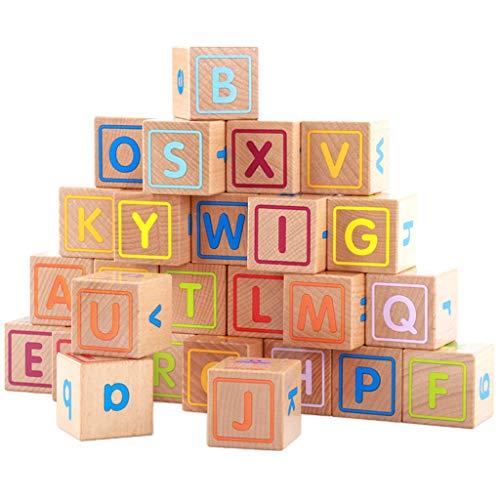 Sharplace 26x Cubo Bloque de Madera Letra de Alfabeto Abecedario Apilamiento Cognición Juguetes Niños
