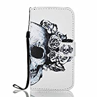 Galaxy J3 2017 Wallet Case, J3 Prime Case, ESSTORE-EU [Free USB Charging Cable] with Flip/Stand/Credit Card Holder/Magnetic Closure/TPU Bumper/360 Full Body Protection for Samsung Galaxy J3 (2017) / J3 Prime, Skeleton