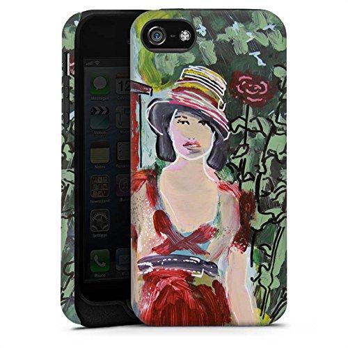 Apple iPhone X Silikon Hülle Case Schutzhülle Frau Blumen Zeichnung Tough Case matt