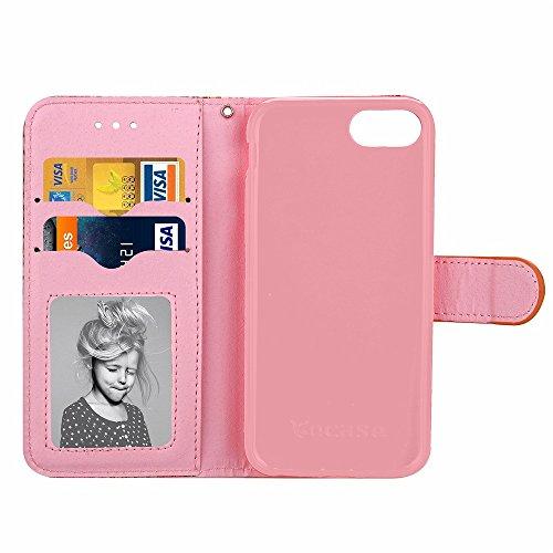 iPhone Case Cover Étui pour iPhone 7, étui à motif en grain de bois, étui en cuir PU étui souple en TPU avec étui pour étui de support pour Apple iPhone7 ( Color : 4 , Size : Iphone 7 ) 4