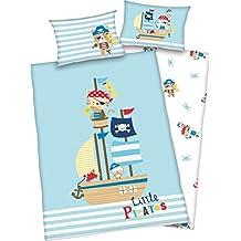 3 unidades Fundas de edredón reversible diseño: pequeños piratas - juego de 100 x 135 cm + 40 x 60 cm plus 1 sábana bajera 70 x 140 cm