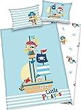 3 tlg. Baby Bettwäsche Wende Motiv: kleine Piraten - Renforcé 100x135 cm + 40x60 cm + 1 Spannbettlaken in weiß 70x140 cm