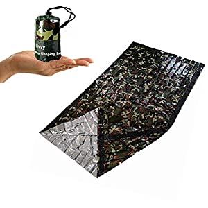 51IMwhh6BxL. SS300  - SEALEN Emergency Survival Sleeping Bag,Lightweight Waterproof Army Military Woodland Camouflage Thermal Insulation Compact Bivy Sack, Outdoor Frist Aid Gear for Camping Hiking Backpacking