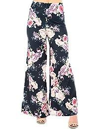 Neu Blumenmuster Palazzo Hose Sommer Damen Hose mit Weitem Bein Plus Größe 8
