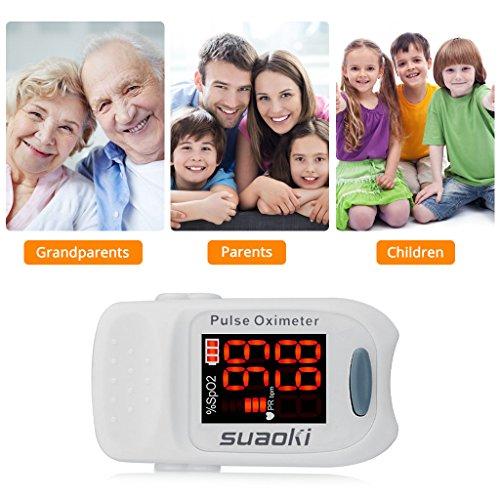 Suaoki - Pulsioxímetro de Dedo Oxímetro Pulsómetro Digital (Pantalla LED, Medidor de Sangre Oxígeno, Frecuencia Cardíaca, Para Adultos y Niños, con Caso Protector) Blanco