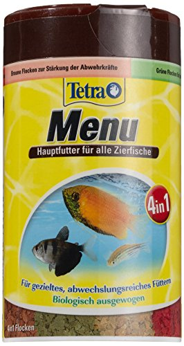 TetraMin Menu Lot de 4 flacons de mousse pour poissons décoratifs 4 compartiments séparés Idéal pour les poissons à eau tout type de l'eau 100 ml