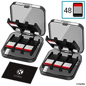 2x CamKix aufbewahrungsbox kompatibel mit Nintendo Switch Spiele – Passend für bis zu 48 Nintendo Switch Spiele – Aufbewahrungssystem – Spielkarten-Organizer – Reisebox – Hartschalen-Set mit 24 Slots