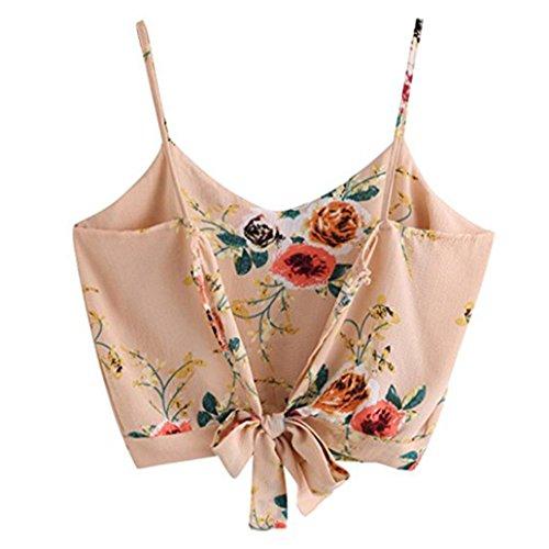 T-Shirt Damen Sommer Bauchfrei Trägerlos V-Ausschnitt Stickerei Crop Tops Oberteile Bluse (XL, Rosa)