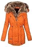 Navahoo warme Damen Winter Jacke Parka lang Mantel Winterjacke Fell Kragen B380 [B380-Orange-Gr.S]