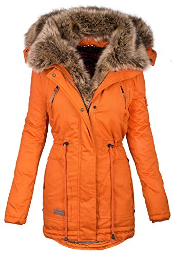 838fe8827382 Navahoo Warme Damen Winter Jacke Parka Lang Mantel Winterjacke Fell Kragen  B380  B380-Orange
