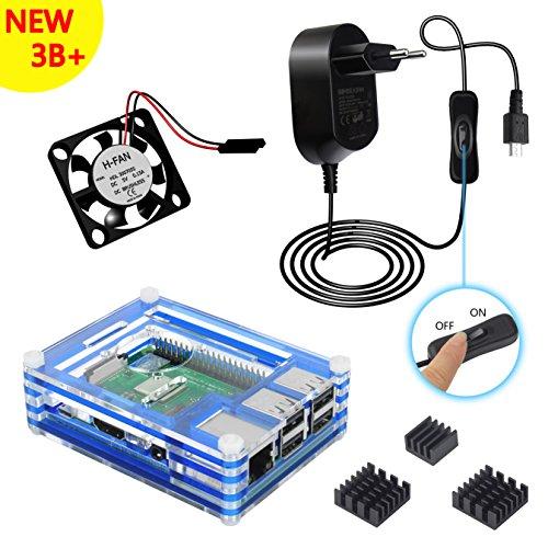 Clearain Kit Box für Raspberry Pi 3B + Plus Schutzhülle mit 5V 2.5A Netzteil mit ON/OFF Schalter Lüfter Kühlkörper blau (Box Switch Cover)