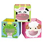 SONGMICS Storage Boxes, Set of 3, Toy Organisers, Foldable Storage Bins, Cubes, for Kids Room, Playroom, 27 x 27 x 27 cm, Animal Theme, Blue, Green and Pink RFB01PG