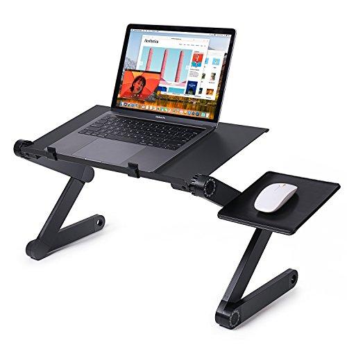 Mesa plegable para escritorio ajustable, Hansemay Bandeja ergonómica para mesa de cama