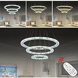 Hengda® 72w LED Kristall Hängeleuchte Pendelleuchte 3 Ringe Dimmbar Lichtfarbe einstellbar Abstrahlwinkel:120°