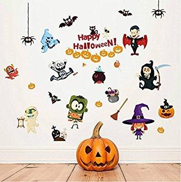 'F & H clest Happy Halloween abnehmbarer Wandbild Vinyl Cartoon Art Wand für Wohnzimmer Schlafzimmer Kinder Raum Dekorationen