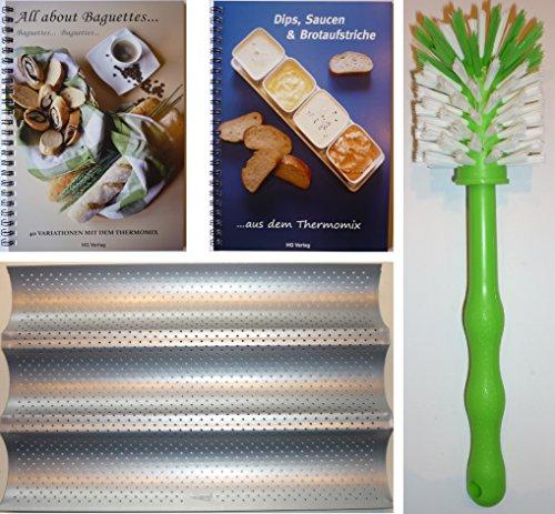 HG Verlag PXXL-Set Baguetteblech + All About Baguettes. 40 Variationen mit dem Thermomix + Dips, Saucen und Brotaufstriche 50 Rezepte .aus dem Thermomix + Bürste TM21 TM31 TM5 ...