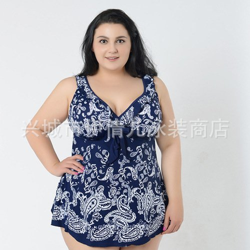 Mme summer maillot de bain grand timbre conservateur jupe maillot split-YU&XIN Navy Blue