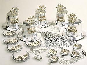 WIDMANN wdm8006W?Disfraz para adultos Party Kit buen año plateado para 10personas, talla única