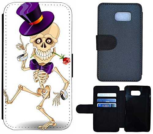 Flip Cover Schutz Hülle Handy Tasche Etui Case für (Apple iPhone 5 / 5s, 1239 Delfin Brau Grau) 1240 Skelett Cartoon Lila