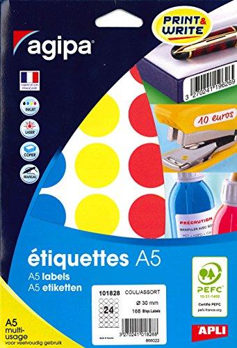 Agipa - Lote de 168 pegatinas redondas (30 mm), multicolor