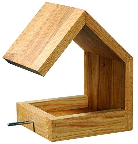 Luxus-Vogelhaus 46850e Eichenholz Vogelfutterhaus zum Aufhängen mit Satteldach und Anflugstange