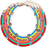 PHALIN Rainbow Heishi Bead Surfer Choker Necklaces for Women Colorful African Vinyl Disc Beaded Collar Necklace Set Bohemia Layered Summer Necklaces for Beach Vacation Travel