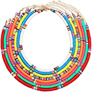 PHALIN Rainbow Heishi Bead Surfer Choker Necklaces for Women Colorful African Vinyl Disc Beaded Collar Necklac