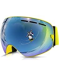 Philonext Snow Goggle, Snowboard Skate Gafas de esquí Snowmobile Ski Gafas con Anti-Fog Big Esférico Doble Lente, 100% UV400 Protección, Gran Angular para la nieve Deportes Esquí Snowboard Ski Snowmobile Skate Goggle (Yellow)