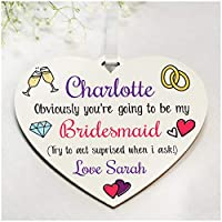 Funny PERSONALISED Will You Be My Maid of Honour, Bridesmaid Gifts - Custom Be My Bridesmaid, Flower Girl Gifts for Wedding, Sister, Best Friends, Daughter - Custom Will You Be Wedding Gifts